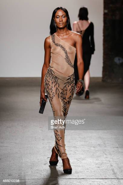 A model walks the runway during the Mariana Valentina show at Nolcha Fashion Week New York Spring Collections 2015 during NY Fashion Week at Eyebeam...