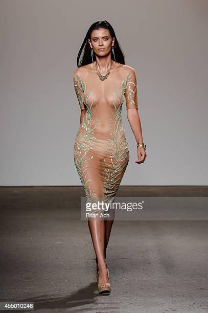 A model walks the runway during the Mariana Valentina show at Nolcha Fashion Week New York Spring Collections 2015 during NY Fashion Week at Eyebeam...