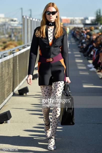 A model walks the runway during the Marine Serre Ready to Wear fashion show as part of the Paris Fashion Week Womenswear Spring/Summer 2019 on...