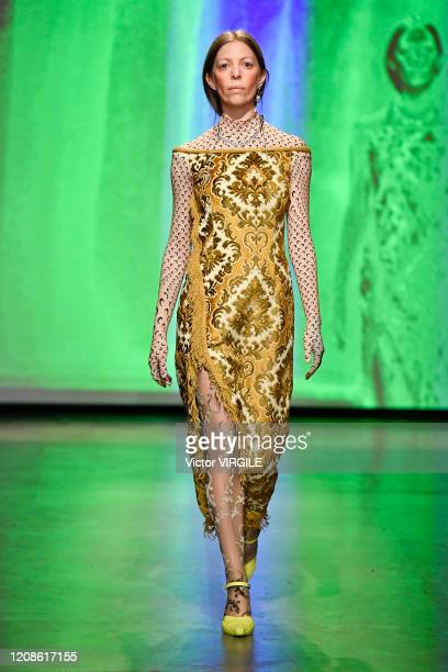Model walks the runway during the Marine Serre Ready to Wear fashion show as part of the Paris Fashion Week Womenswear Fall/Winter 2020/2021 on...