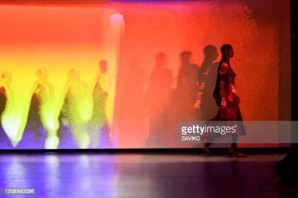 Model walks the runway during the Marine Serre Ready to Wear Fall/Winter 2020-2021 show as part of the Paris Fashion Week on February 25, 2020 in...