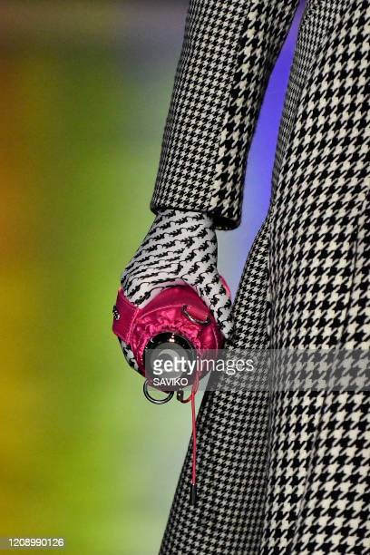 A model walks the runway during the Marine Serre Ready to Wear Fall/Winter 20202021 show as part of the Paris Fashion Week on February 25 2020 in...
