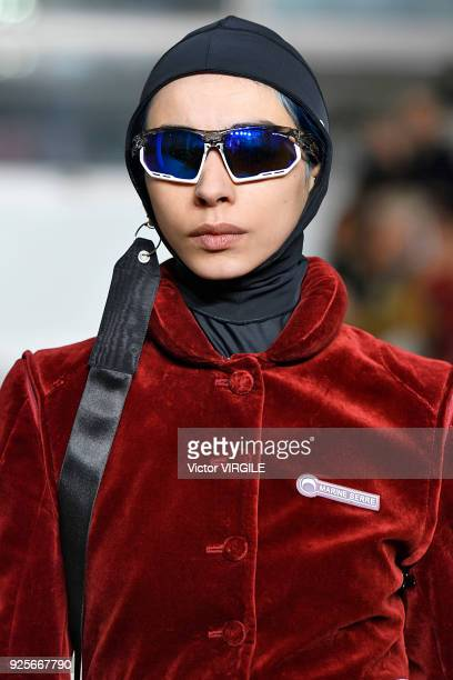 A model walks the runway during the Marine Serre Ready to Wear Fall/Winter 20182019 fashion show as part of the Paris Fashion Week Womenswear...