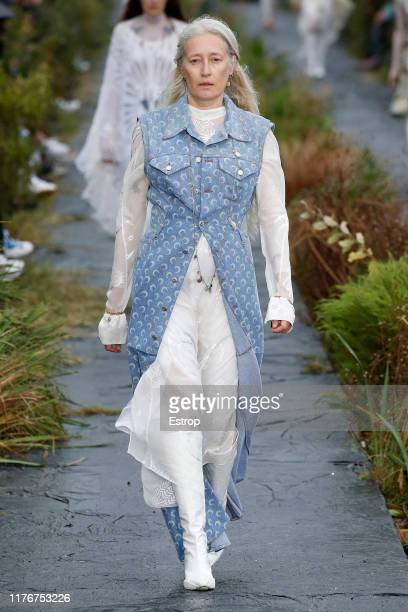 A model walks the runway during the Marine Serre Womenswear Spring/Summer 2020 show as part of Paris Fashion Week on September 24 2019 in Paris France