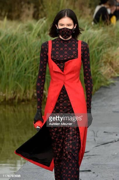 Model walks the runway during the Marine Serre Womenswear Spring/Summer 2020 show as part of Paris Fashion Week on September 24, 2019 in Paris,...