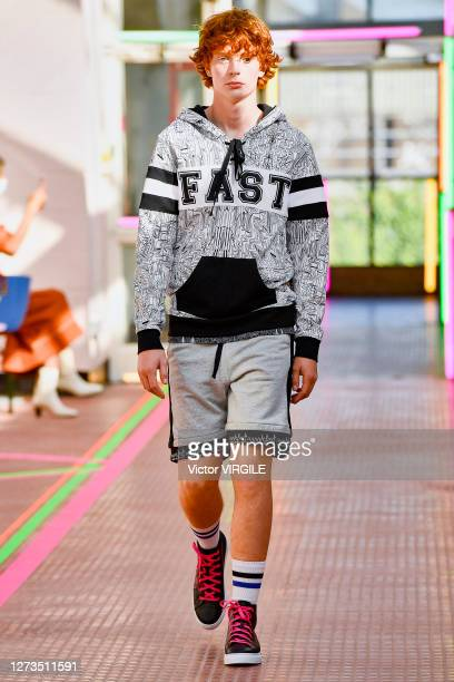 Model walks the runway during the Mark Fast Ready to Wear Spring/Summer 2021 fashion show during LFW September 2020 at Hackney Depot on September 18,...