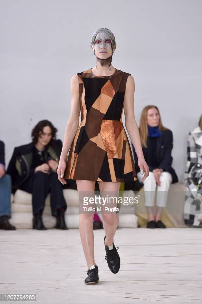 Model walks the runway during the Marni fashion show as part of Milan Fashion Week Fall/Winter 2020-2021 on February 21, 2020 in Milan, Italy.