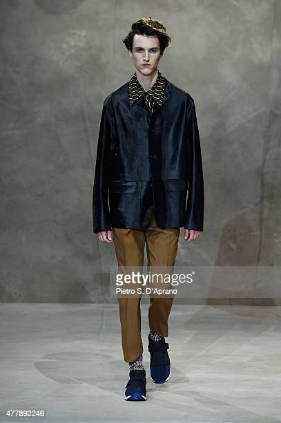 Model walks the runway during the Marni fashion show as part of Milan Men's Fashion Week Spring/Summer 2016 on June 20, 2015 in Milan, Italy.