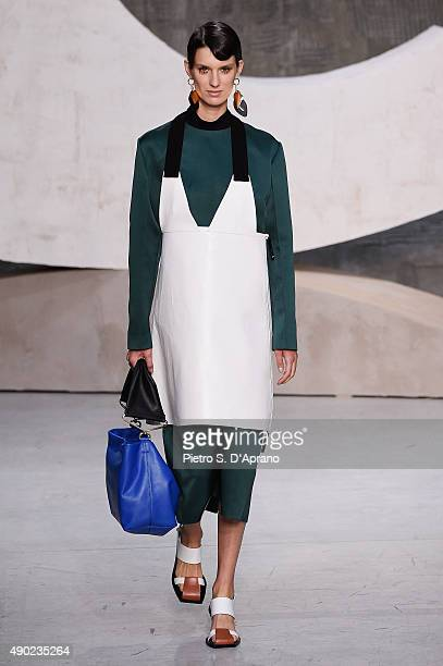 Model walks the runway during the Marni fashion show as part of Milan Fashion Week Spring/Summer 2016 on September 27, 2015 in Milan, Italy.