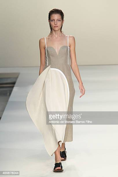 A model walks the runway during the Marni show as a part of Milan Fashion Week Womenswear Spring/Summer 2015 on September 21 2014 in Milan Italy