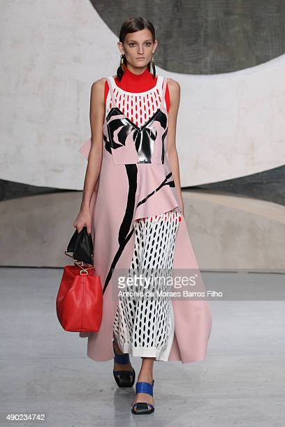 A model walks the runway during the Marni show as a part of Milan Fashion Week Spring/Summer 2016 on September 27 2015 in Milan Italy
