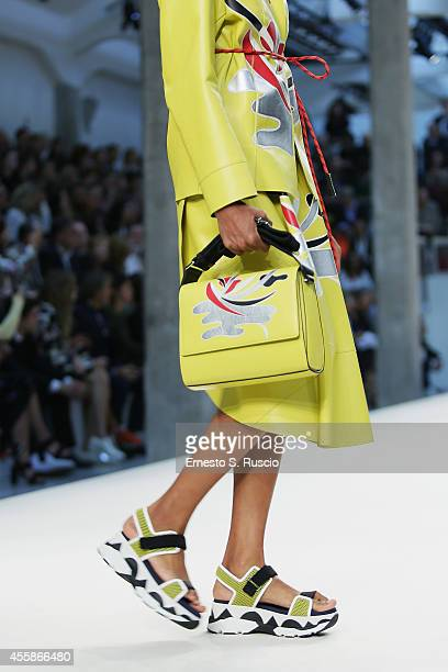 A model walks the runway during the Marni Show as part of Milan Fashion Week Womenswear Spring/Summer 2015 on September 21 2014 in Milan Italy