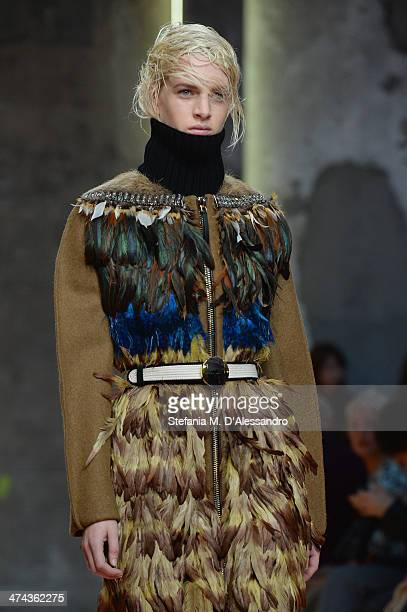 A model walks the runway during the Marni show as part of Milan Fashion Week Womenswear Autumn/Winter 2014 on February 23 2014 in Milan Italy