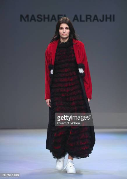 A model walks the runway during the Mashael show at Fashion Forward October 2017 held at the Dubai Design District on October 28 2017 in Dubai United...