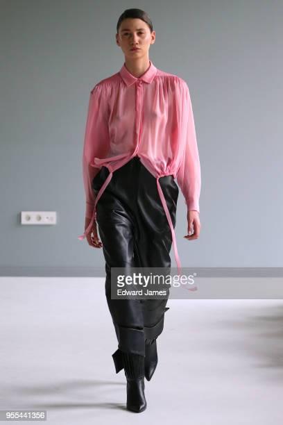 A model walks the runway during the Materiel By Aleksandre Akhalkatsishvili Fall/Winter 2018/2019 Collection fashion show at MercedesBenz Fashion...