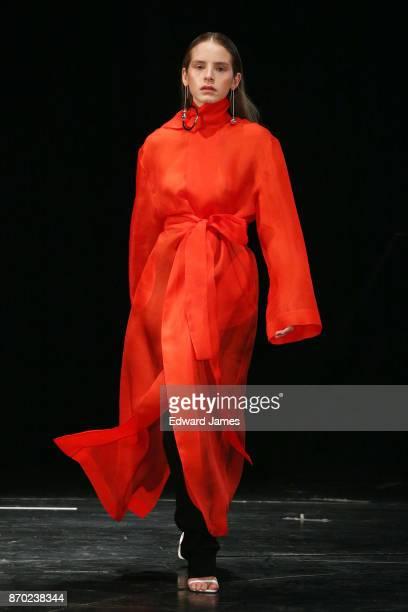A model walks the runway during the Materiel by Aleksandre Akhalkatsishvili fashion show at MercedesBenz Fashion Week Tbilisi on November 4 2017 in...