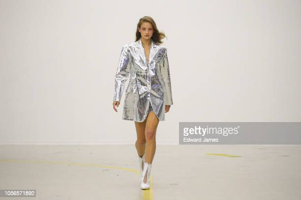 A model walks the runway during the Materiel Spring/Summer 2019 Collection fashion show at MercedesBenz Fashion Week Tbilisi on November 2 2018 in...