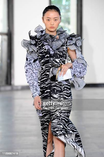 Model walks the runway during the Maticevski Haute Couture Fall/Winter 2019 2020 show as part of Paris Fashion Week on July 02, 2019 in Paris, France.
