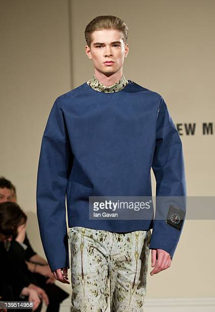 A model walks the runway during the Matthew Miller presentation at London Fashion Week Autumn/Winter 2012 at Somerset House on February 22 2012 in...