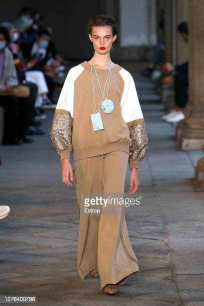 Model walks the runway during the Max Mara fashion show during Milan Women's Fashion Week Spring/Summer 2021 on September 24, 2020 in Milano, Italy.