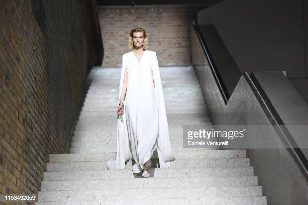 Model walks the runway during the Max Mara Resort 2020 Fashion Show at Neues Museum on June 03, 2019 in Berlin, Germany.