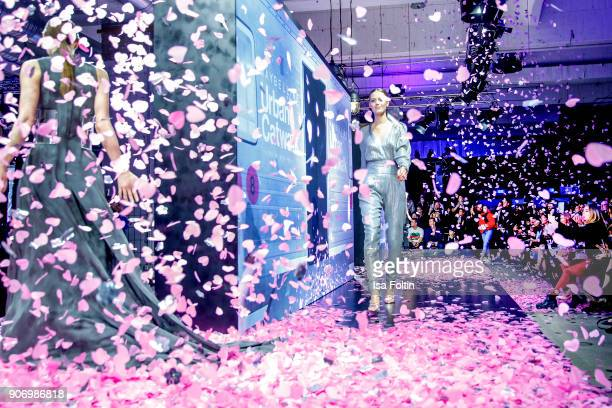 A model walks the runway during the Maybelline Show 'Urban Catwalk Faces of New York' at Vollgutlager on January 18 2018 in Berlin Germany