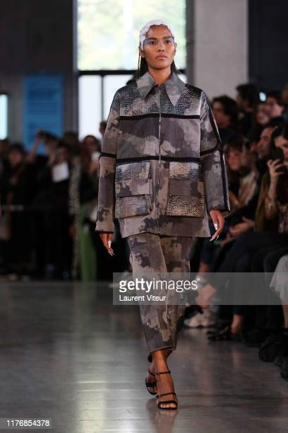 A model walks the runway during the Mazarine Womenswear Spring/Summer 2020 show as part of Paris Fashion Week on September 24 2019 in Paris France