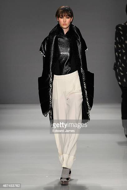 A model walks the runway during the Melissa Nepton fashion show at David Pecaut Square on March 24 2015 in Toronto Canada