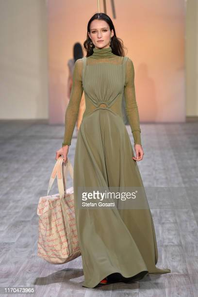 A model walks the runway during the Mercedes Benz Presents Paris Georgia show during New Zealand Fashion Week 2019 at Auckland Town Hall on August 27...