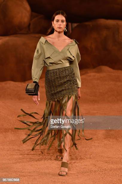 A model walks the runway during the MercedesBenz Presents Camilla And Marc show at MercedesBenz Fashion Week Resort 19 Collections at the Royal Hall...