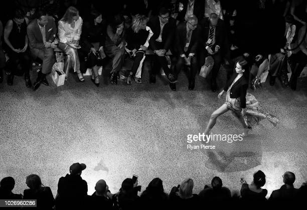 Model walks the runway during the Mercedes-Benz Presents Knuefermann show during New Zealand Fashion Week 2018 at Viaduct Events Centre on August 27,...