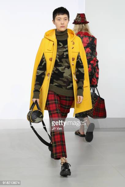 A model walks the runway during the Michael Kors Collection Fall 2018 Runway Show at Vivian Beaumont Theatre at Lincoln Center on February 14 2018 in...