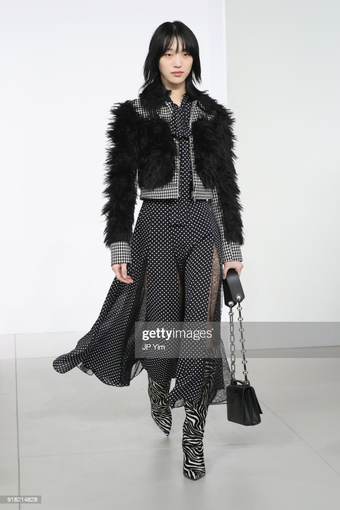 A model walks the runway during the Michael Kors Collection Fall 2018 Runway Show at Vivian Beaumont Theatre at Lincoln Center on February 14, 2018 in New York City.