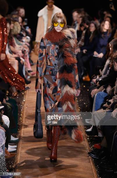 A model walks the runway during the Michael Kors Collection Fall 2019 Runway Show at Cipriani Wall Street on February 13 2019 in New York City