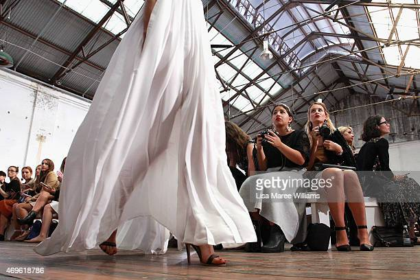 A model walks the runway during the Michael Lo Sordo show at MercedesBenz Fashion Week Australia 2015 at Carriageworks on April 14 2015 in Sydney...