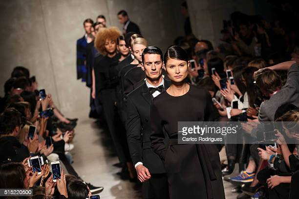 A model walks the runway during the Miguel Vieira show on Lisboa Fashion Week Autumn/Winter 2016/2017 in Lisbon on March 12 2016 in Lisbon Portugal