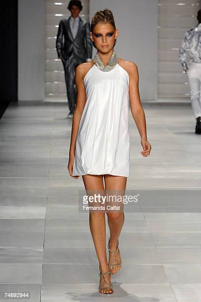 A model walks the runway during the Miguel Vieira Summer 2008 show held at Sao Paulo Fashion Week June 17 2007 in Sao Paulo Brazil