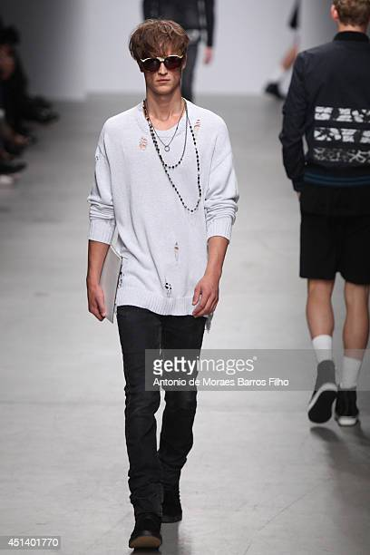 A model walks the runway during the Miharayasuhiro show as part of the Paris Fashion Week Menswear Spring/Summer 2015 on June 28 2014 in Paris France