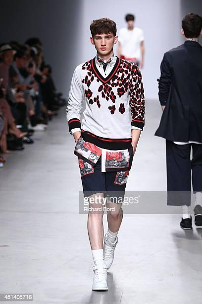 Model walks the runway during the Miharayasuhiro show as part of the Paris Fashion Week Menswear Spring/Summer 2015 at Palais de Tokyo on June 28,...