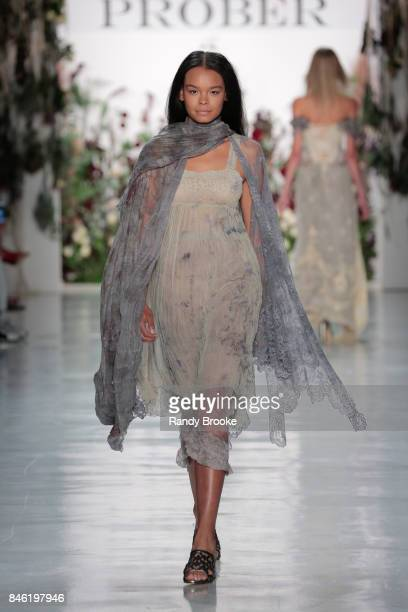 Model walks the runway during the Mimi Prober - Runway - September 2017 - New York Fashion Week: The Shows on September 11, 2017 in New York City.