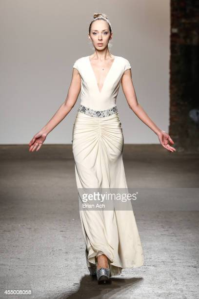 A model walks the runway during the Mimi Tran show at Nolcha Fashion Week New York Spring Collections 2015 during NY Fashion Week at Eyebeam 540 West...