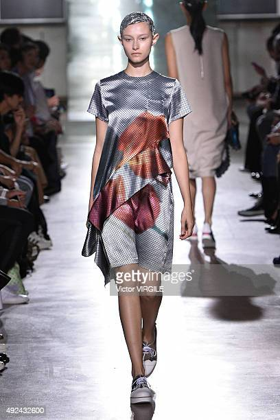 Model walks the runway during the Mintdesigns Ready to Wear show as part of Mercedes Benz Fashion Week TOKYO 2016 S/S at Shibuya Hikarie on October...