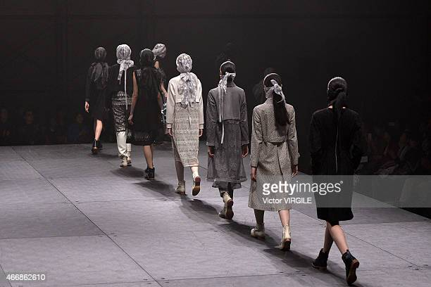 A model walks the runway during the Mints Design show as part of Mercedes Benz Fashion Week TOKYO 2015 A/W on March 17 2015 in Tokyo Japan