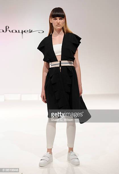 A model walks the runway during the Mira Hayek Presentation at Fashion Forward Fall/Winter 2016 held at the Dubai Design District on April 1 2016 in...