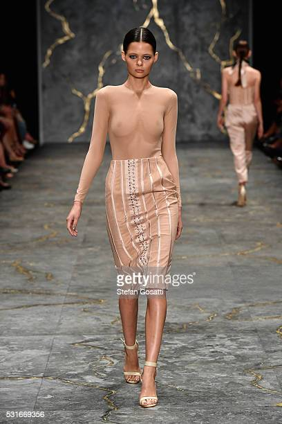 A model walks the runway during the Misha Collection show at MercedesBenz Fashion Week Resort 17 Collections at Carriageworks on May 16 2016 in...