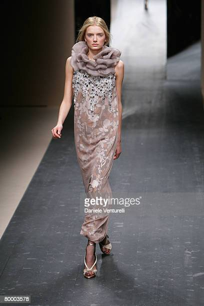 Model walks the runway during the Missoni fashion show as part of Milan Fashion Week Autumn/Winter 2008/09 on February 17, 2008 in Milan, Italy.