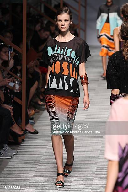 Model walks the runway during the Missoni show as a part of Milan Fashion Week Womenswear Spring/Summer 2014 on September 22, 2013 in Milan, Italy.