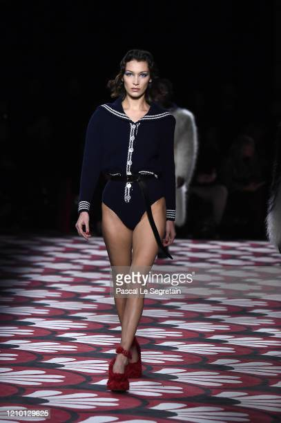 Model walks the runway during the Miu Miu as part of the Paris Fashion Week Womenswear Fall/Winter 2020/2021 on March 03, 2020 in Paris, France.