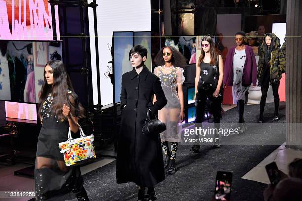 A model walks the runway during the Miu Miu Ready to Wear fashion show as part of the Paris Fashion Week Womenswear Fall/Winter 2019/2020 on March 05...