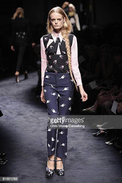 A model walks the runway during the Miu Miu Ready To Wear show as part of the Paris Womenswear Fashion Week Spring/Summer 2010 at on October 7 2009...